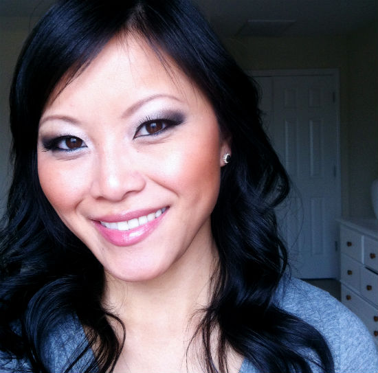smokey eye tutorial, nude lipstick, NYX Pumpkin Pie, nude gloss, night out makeup look