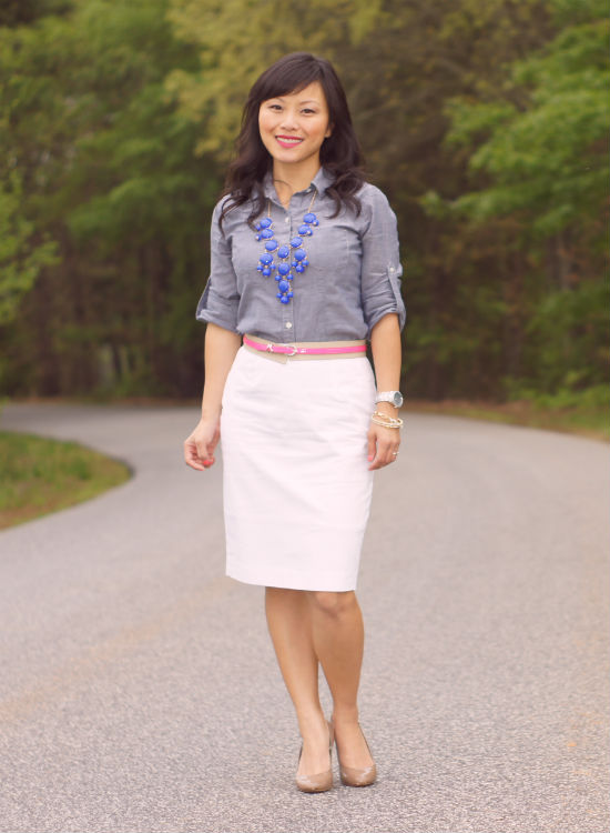 how to wear chambray, chambray shirt, white pencil skirt, nude pumps, j crew bubble necklace