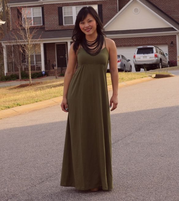 olive maxi dress, black statement necklace