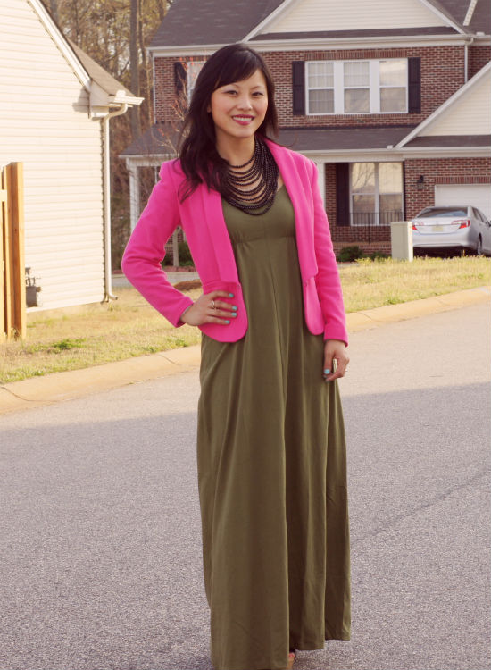 hot pink blazer, blazer and maxi dress