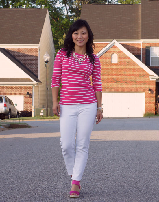 white jeans, pink wedges, nine west wedges, hot pink stripes, pink and white stripes, striped top