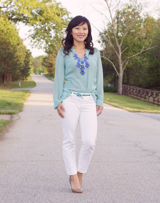 mint blouse, sheer blouse, white blouse, j crew bubble necklace, white skinny jeans