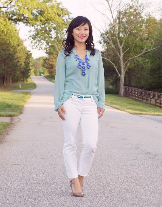 mint blouse, sheer blouse, white blouse, j crew bubble necklace, white skinny jeans