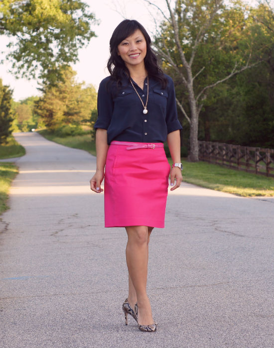 pink skirt, a line skirt, pencil skirt, navy blue and pink, ann taylor camp shirt, silk blouse, snakeskin pumps