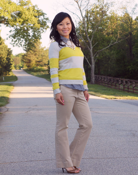 preppy chic, striped sweater, chambray under sweater, how to wear chambray, business casual