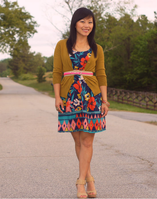 floral dress, dress with cardigan, nude platforms, perforated leather heels, businses casual, belted cardigan