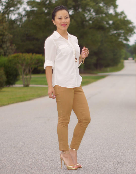 camel colored jeans, colored jeans, gold strappy shoes, zara ankle strap shoes, ankle strap sandals, white blouse