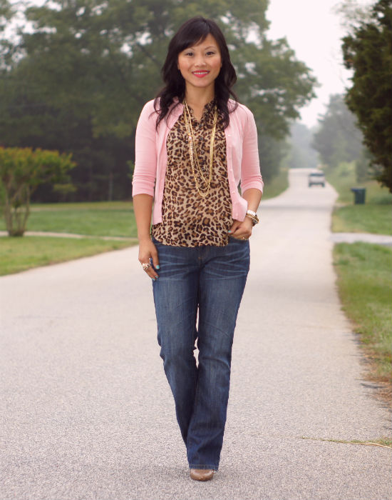 leopard print, sleeveless blouse, casual friday, leopard and peach, old navy chiffon leopard blouse