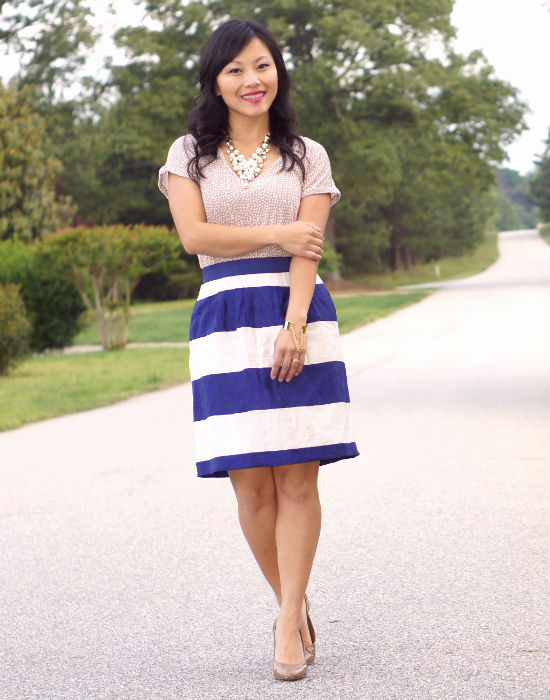 striped skirt, polka dot skirt, mixing prints, loft striped skirt, cobalt and beige, navy blue striped skirt, business casual