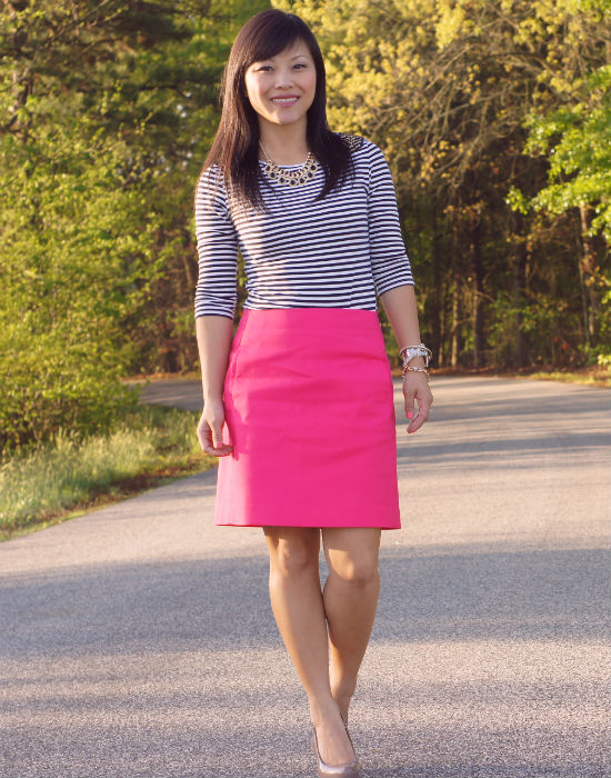 loft pink pencil skirt, striped shirt