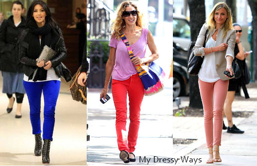 cobalt jeans, red jeans, blush jeans, pastel jeans, how to wear colored jeans, business casual