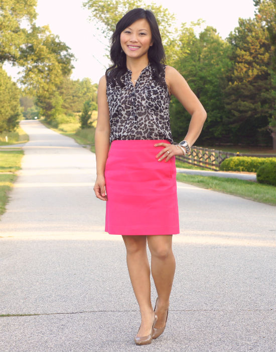 pink pencil skirt, LOFT canvas a-line skirt, guava skirt, black leopard, leopard blouse, sleeveless blouse, Old Navy chiffon leopard print top