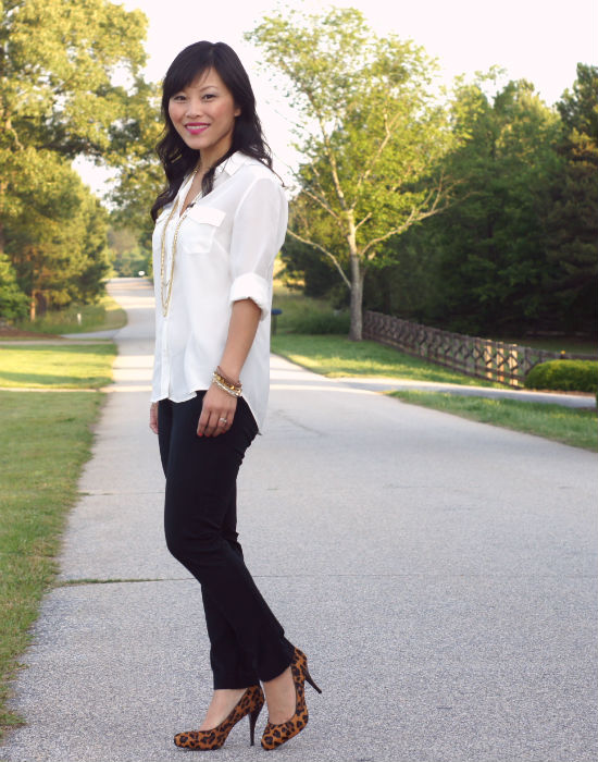 white blouse, camp shirt, ann taylor silk camp shirt, cigarette pants, slim black pants, leopard print shoes
