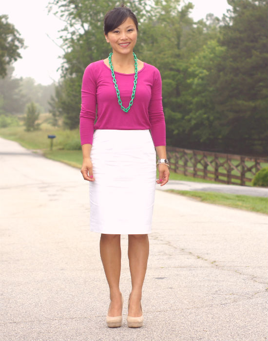 white pencil skirt, ann taylor white pencil skirt, fuchsia long sleeved tee, fuchsia and white
