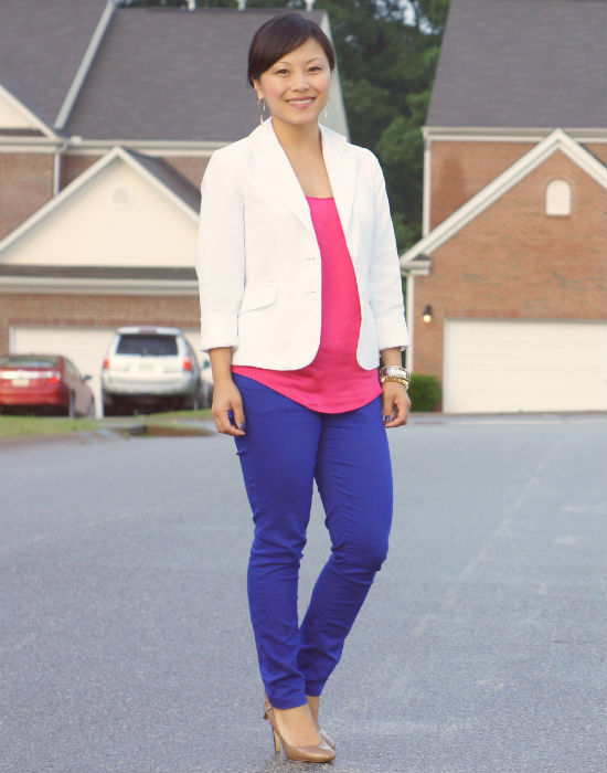 white blazer, color block outfit, cobalt jeans, colored skinny jeans, pink and cobalt