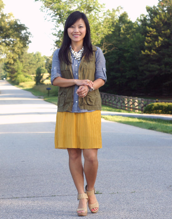 mustard skirt, dress as skirt, utility vest, old navy utility vest, chambray shirt, converse chambray shirt, pearl bib necklace, nude colored platform sandals, forever 21, wearing, ootd