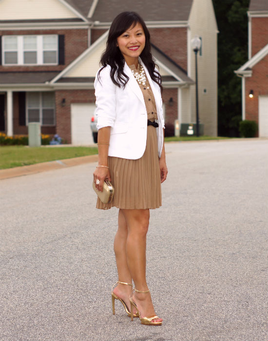 dress with blazer, pleated dress, mocha colored dress, white blazer, ootd, date night, Zara gold ankle strap sandals, gold sandals, ankle strap sandals,