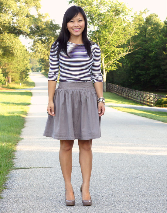black and white striped top, embellished shoulder top, taupe skirt, taupe heels, point toe platforms pumps