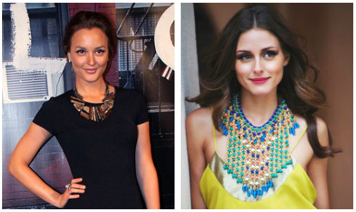 leighton meester, olivia palermo, tribal necklace, how to wear