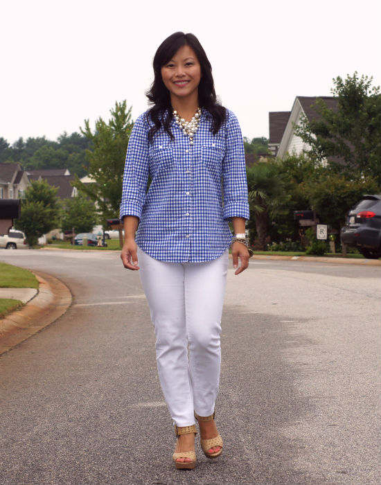 old navy button up, gingham, blue gingham, white jeans, nude platform shoes, chinese laundry sassyfras, business casual, ootd